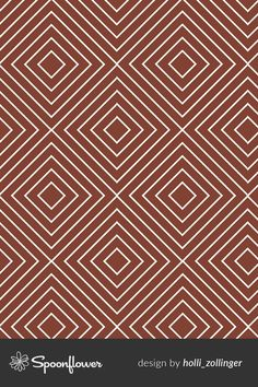 Line Diamond Tile geometric fabric designed by Holli Zollinger on Spoonflower. This is a geometric seamless repeat design in marsala. DIY pillows and sew bags for your creative business using this holli_zollinger design. Explore custom-printed fabric, wallpaper and home decor on Spoonflower. No minimums, eco-friendly printing, and each order supports an indie artist from around the world! Geometric Drawing, Geometric Fabric, Geometric Patterns, Geometric Designs, Geometric Shapes, Quilt Patterns, Fabric Design, Pattern Design, Sew Bags