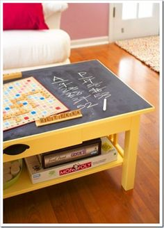 chalkboard coffee table... neat idea to have in a game room to keep track of scores
