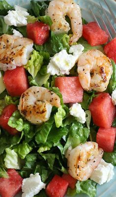 Grilled Shrimp and Watermelon Chopped Salad