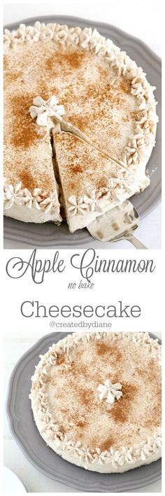 apple cinnamon no bake cheesecake is delicious and easy to make Created by Diane Funnel Cakes Recipe Easy No Bake Desserts, Just Desserts, Delicious Desserts, Dessert Recipes, Yummy Food, Apple Recipes, Sweet Recipes, Baking Recipes, Quick Recipes