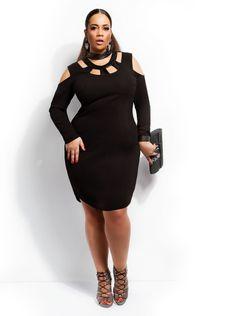 """""""Petra"""" Faux Leather Dress -Black - Cocktail Dresses - Clothing - Monif C"""