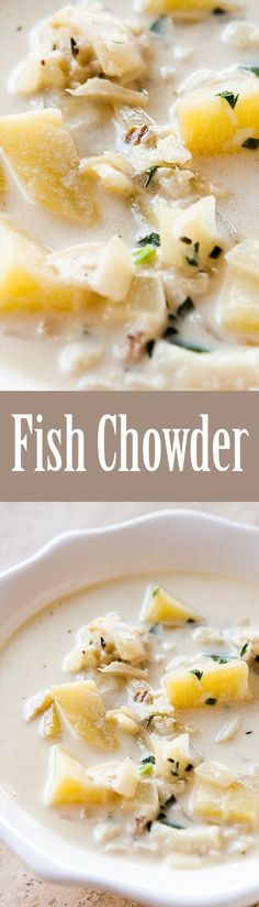 Thick and creamy fish chowder! With cod, or firm white fish, Yukon Gold potatoes, onions, clam juice, and cream. So GOOD! On SimplyRecipes.com
