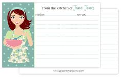 4x6 personalized recipe cards, set of 25 double sided recipe cards for bridal showers or housewarming gift - red hair/mint apron by PaperKStudios on Etsy