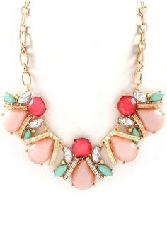 Blush, mint, and coral statement necklace Cute Jewelry, Jewelry Box, Jewelery, Jewelry Watches, Jewelry Accessories, Fashion Accessories, Fashion Jewelry, Jewelry Making, Women's Fashion