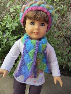Ravelry: LisaMcClure's Entrelac Scarf - free knitting instructions on how to… Knitting Dolls Clothes, Ag Doll Clothes, Knitted Dolls, Doll Clothes Patterns, Doll Patterns, Knitting Patterns, American Girl Outfits, American Doll Clothes, American Girl Crochet