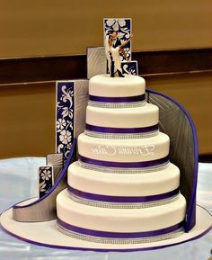 Staircase Wedding Cake Decorations - : Bridal And Wedding Jewelry Purple Wedding Cakes, Themed Wedding Cakes, Wedding Cake Decorations, Elegant Wedding Cakes, Beautiful Wedding Cakes, Beautiful Cakes, Amazing Cakes, Damask Wedding, Cakes Plus