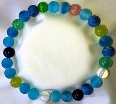 Frost Blaue Achat mit Peridot Amethyst Turmalin Heilstein Perlen Armband