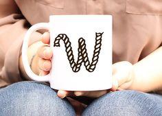 Custom Monogram coffee mug Western Rope letter initial by Mugsleys