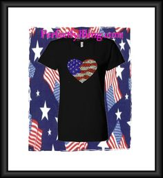 July 4th Rhinestone Heart Design - Bling T-Shirt