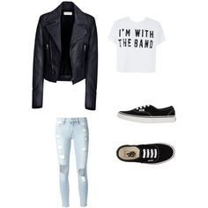 Leather jacket with crop top light skinny jeans and vans by yaneiry on Polyvore featuring polyvore, fashion, style, Balenciaga, Frame Denim and Vans