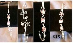 Sterling Silver and pink wire wrapped cuff bracelet