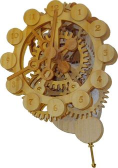 Picture of A wood gear clock with a unique drive mechanism