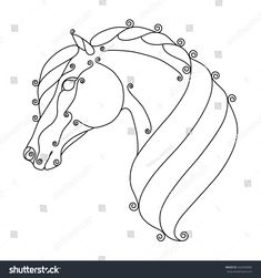 Immagine vettoriale stock 422656894 a tema Stylized Horse Head (royalty free) Stained Glass Paint, Stained Glass Designs, Stained Glass Panels, Stained Glass Projects, Stained Glass Patterns, Mosaic Patterns, Glass Painting Patterns, Horse Quilt, Detailed Coloring Pages