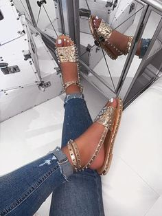 Ladies have this obsession with shoes. Bling Sandals, Cute Sandals, Ankle Strap Sandals, Cute Shoes, Me Too Shoes, Shoes Sandals, Flat Sandals, Women Sandals, Gladiator Sandals