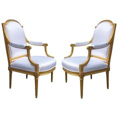 Important pair of Louis XVI Armchairs | From a unique collection of antique and modern armchairs at http://www.1stdibs.com/furniture/seating/armchairs/