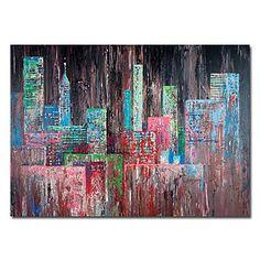 pintados à mão pintura a óleo abstrata, com quadro esticado – BRL R$ 318,27