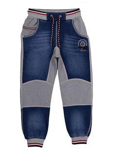 Джинсы синие с трикотажными вставками - Ayugi jeans - 3960875 Kids Clothes Patterns, Kids Clothes Boys, Kids Outfits Girls, Baby Boy Outfits, Clothing Patterns, 1 Year Baby Dress, Denim Fashion, Boy Fashion, Jeans Refashion