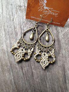 Micro macramé earrings boho jewelry sand par creationsmariposa, $25.00