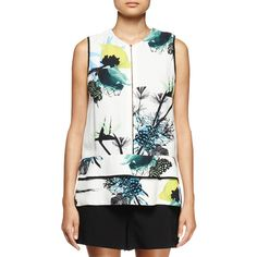 Proenza Schouler Sleeveless Ikebana-Print Blouse ($955) ❤ liked on Polyvore featuring tops, blouses, rayon blouse, floral sleeveless blouse, white sleeveless blouse, layered blouse and white sleeveless top
