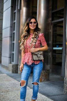Fall favorite - lace top.