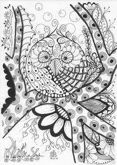 Coloriage colouring zendoodle zentangle hibou chouette owl