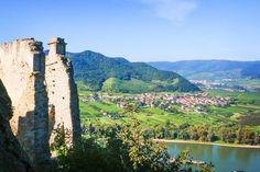 Durnstein Wachau Valley in Austria -- view from the castle ruins
