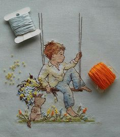 Little Dreamer, love the detailed stitchery. Cross Stitch For Kids, Cross Stitch Love, Cross Stitch Designs, Cross Stitch Patterns, Cross Stitching, Cross Stitch Embroidery, Embroidery Patterns, Hand Embroidery, Stitches Wow