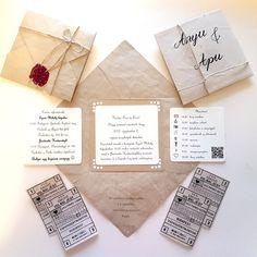 DIY rustic vintage wedding invitation