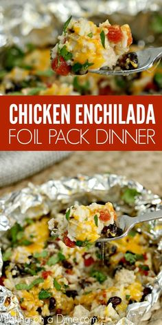 easy chicken enchilada foil packet meal will be a hit with the entire family! Easy chicken enchilada foil dinner is packed with yummy chicken, cheese, beans and more! Try Easy chicken enchilada foil packet recipe. Cleanup is a breeze! Tin Foil Dinners, Foil Packet Dinners, Hobo Dinners, Grilling Foil Packets, Foil Packet Recipes, Camping Foil Dinners, Sauce Pizza, Campfire Food, Campfire Breakfast