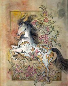 Fabric Painting, Painting & Drawing, Iranian Art, Turkish Art, Illustration Art, Illustrations, Islamic Art Calligraphy, Equine Art, Mural Art
