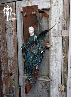 Door Handles, Diy Crafts, Home Decor, Ideas, Paper Art, Angels, Tela, Angel Paintings, Christmas Decor