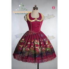 The Bridge of Bubbles Gothic Lolita jsk/dress   Express Shipping ($110) ❤ liked on Polyvore featuring dresses, embellished dress, gothic dresses, purple ruffle dress, digital print dress and knee length dresses