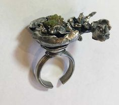 Water-cast ring of fine silver, sterling and some sort of green crystal. Prong Set, Hamilton, Antique Jewelry, It Cast, Jewelry Making, Jewels, Crystals, Water, Green