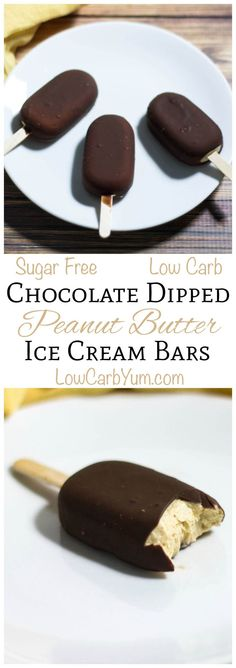 These sugar free low carb chocolate dipped peanut butter ice cream bars are so easy to make. LCHF Keto Banting THM Recipe (Peanut Butter Substitute)