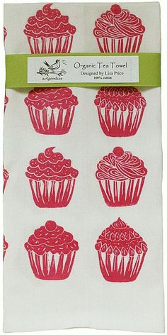 Artgoodies Organic Cupcake All Over Pattern Block Print Tea Towel | Wayfair