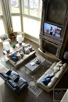 My Living Room Furniture Lay Out A Pair Of Sofas With Throw Pillows Anchor The While Additional Rich Leather Recliners Give Soft Texture