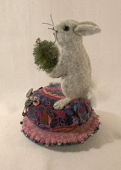 Felted Wool Bunny Pincushion bottle brush topiary by LucysLocket