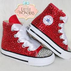 Swarovski Crystal Rhinestone Ruby Red Converse Shoes | Etsy Red Converse Shoes, Sparkly Converse, Rhinestone Converse, Pageant Shoes, Bedazzled Shoes, Red Wedding Shoes, Red High Tops, Shoe Crafts, Baby Bling