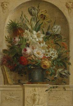 Willem van Leen (1753 - 1825) - Still life of flowers in a niche Dutch Still Life, Still Life Art, Art Niche, Fruit Painting, Floral Artwork, Old Master, Vintage Images, Impressionist, Flower Art