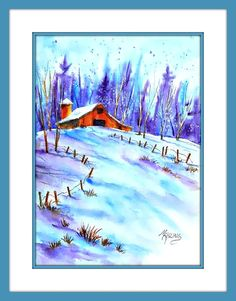 Watercolor Barn Winter Snow by MarthaKislingArt Snow Mountain, Mountain Art, Watercolor Barns, Watercolor Paintings, Winter Art, Winter Snow, Painting Frames, Watercolors, Colorado
