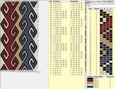 Ramshorn, 32 cards, 5 colors, repeats every 8 rows, GTT🔹 Card Weaving, Weaving Art, Loom Weaving, Inkle Weaving Patterns, Bead Loom Patterns, Finger Weaving, Types Of Weaving, Inkle Loom, Loom Bands