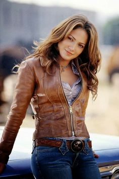 brown leather jacket shirts blue jeans belt spring autumn outfit fashion style clothing women apparel