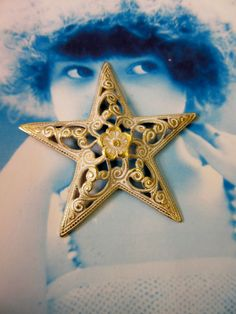 Gold Plated Brass Filigree Star Stamping with a Shabby White Wash Patina 128WHT x1 by dimestoreemporium on Etsy