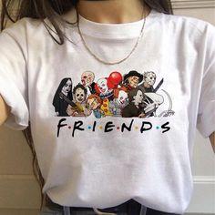 Friends Tv Shows Horror Harajuku T Shirts Women Funny Avengers T Shirts Best Friends Tshirt Fashion Graphic Top Tees Female Shirt Print Design, Shirt Designs, Aesthetic T Shirts, Fashion Graphic, Cute Casual Outfits, Shirt Outfit, Cool T Shirts, Printed Shirts, Harajuku