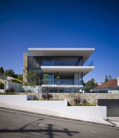 Built by MPR Design Group in , France with date 2010. Images by Brett Boardman.    The concept for this house was to reflect the topography and landform of the Sydney Habour basin. The house is e...