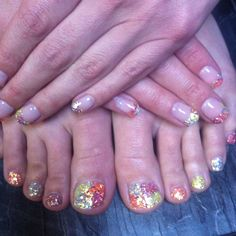 Gel on fingers and toes...for a holiday.