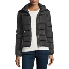 Moncler Oiron Quilted Puffer Coat w/Leather Trim ($1,375) ❤ liked on Polyvore featuring outerwear, coats, black, women's apparel coats, moncler coat, moncler, feather coat, leather trim coat and puffy coat
