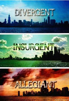 Divergent * Insurgent * Allegiant * Veronica Roth did an excellent job with this series. The Audible version was great!  I could not turn it off! Great plot! If you liked Hunger Games you should love these!