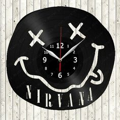Nirvana logo Vinyl Record Wall Clock Decor Handmade 159 #fashion #home #garden #homedcor #clocks (ebay link) Old Vinyl Records, Vinyl Cd, Record Clock, Record Wall, Clock Decor, Art Decor, Home Decor, Nirvana Logo, Clocks