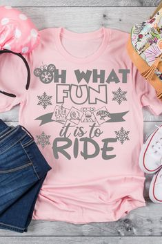 "Oh What Fun it is to Ride is the perfect tee for a Disney Holiday Vacation. This also makes a great gift for ""Disney Ride Loving"" family and friends. Mickey Christmas, Christmas Shirts, Cozy Christmas, Sassy Shirts, T Shirts For Women, Vinyl Designs, Shirt Designs, Gifts For Boys, Teen Gifts"
